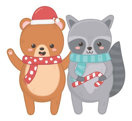 cute bear and raccoon with candy cane and scarf merry christmas vector illustration
