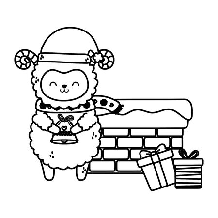 cute sheep chimney with gifts snow merry christmas vector illustration thick line