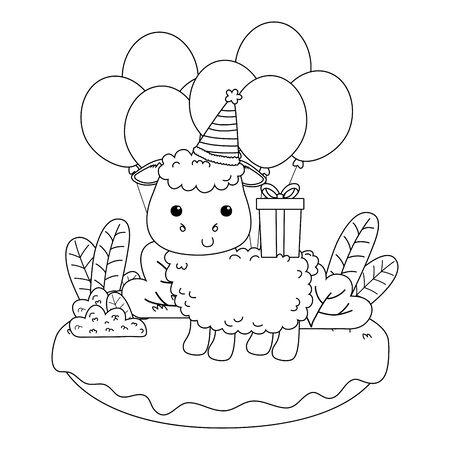 Sheep cartoon design, Animal happy birthday celebration decoration and surprise theme Vector illustration