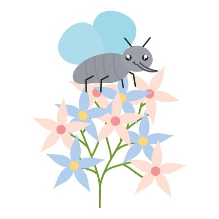 flowers garden with little insect flying kawaii character vector illustration design