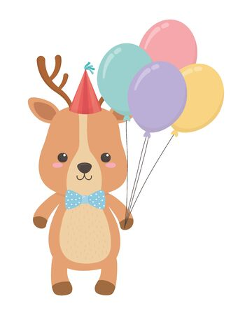 Reindeer cartoon design, Animal happy birthday celebration decoration and surprise theme Vector illustration