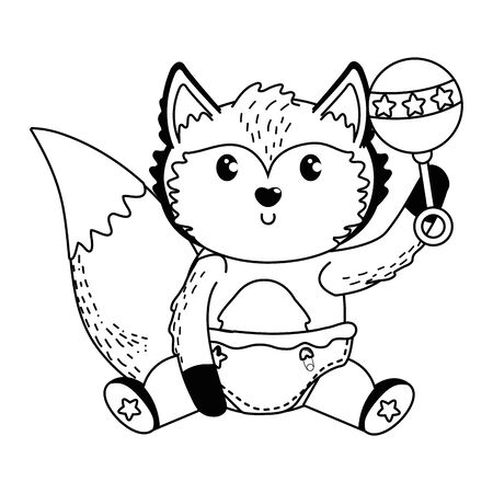 Fox and baby shower symbol design Illusztráció