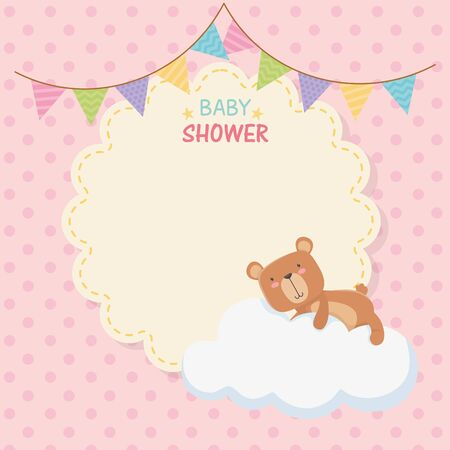 baby shower lace card with little bear teddy in cloud vector illustration design