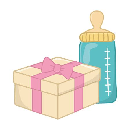 feeding bottle and gift box with ribbon and bow vector illustration graphic design