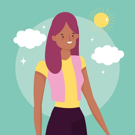 smiling woman outdoor celebration friendship day design vector illustration