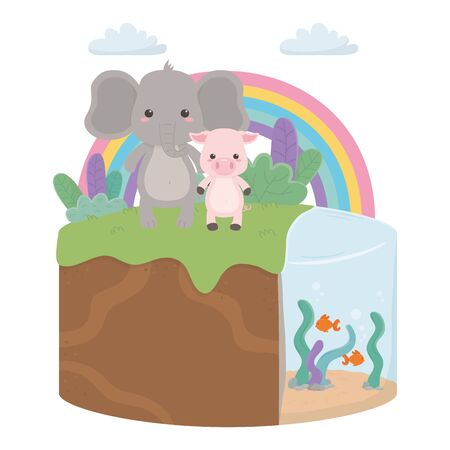 Elephant and pig cartoon design, Animal cute zoo life nature and fauna theme Vector illustration Ilustrace