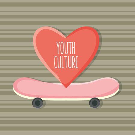 skateboard sport with heart love vector illustration design