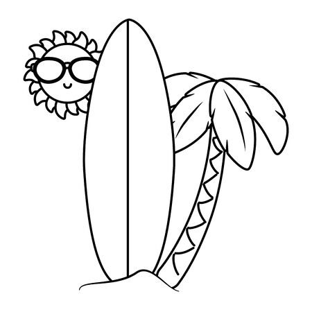 Summer and beach cartoons in black and white Vectores