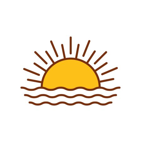 sun hot with waves fill style icon