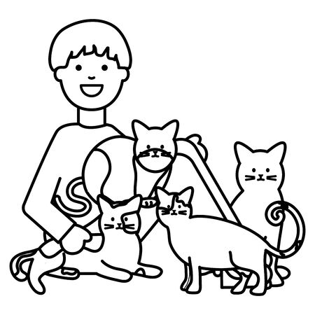 young woman with cute cats mascots vector illustration design