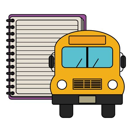 notebook school supply with bus vector illustration design  イラスト・ベクター素材