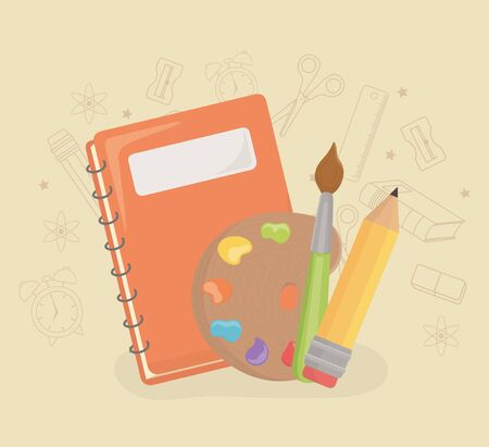 paint pallette and supplies back to school vector illustration design