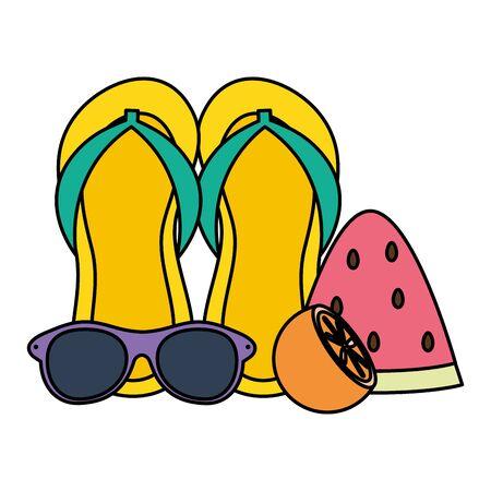 flip flops sandals and sunglasses summer accessories Zdjęcie Seryjne - 134750893