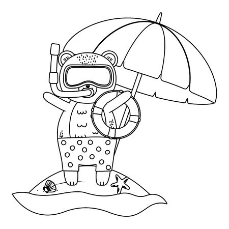 cute animal enjoying summer time cartoon Foto de archivo - 134750896