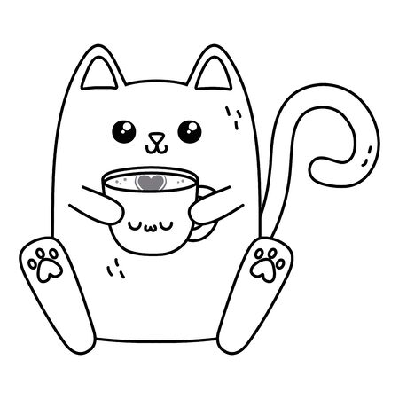 Cat cartoon design, Kawaii expression cute character funny and emoticon theme Vector illustration Illustration