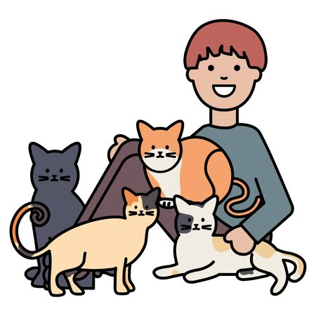 young man with cute cats mascots vector illustration design