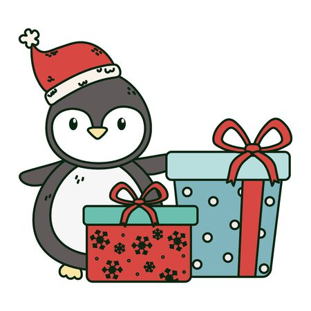 cute penguin with gift boxes celebration merry christmas
