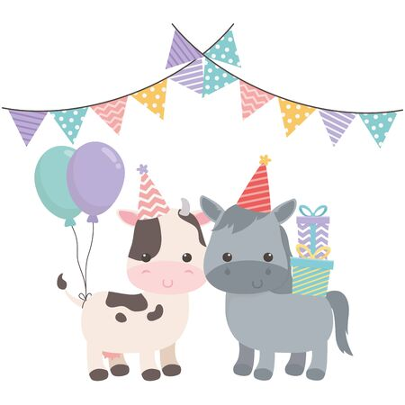 Donkey and cow cartoon with happy birthday icon design Ilustração