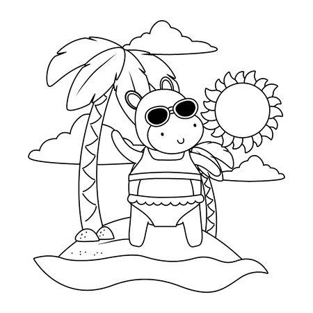 summer vacation relax cartoon vector illustration Foto de archivo - 134751090