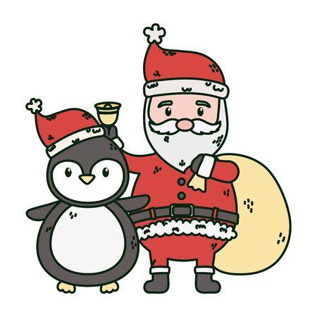 santa with bag and penguin celebration merry christmas Standard-Bild - 134751184