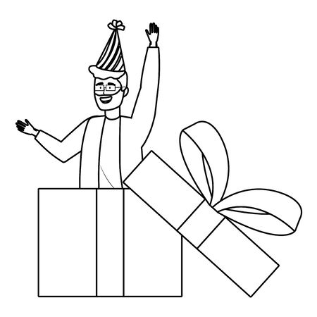 Man cartoon inside gift design