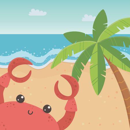 Crab cartoon in the beach design Ilustracja