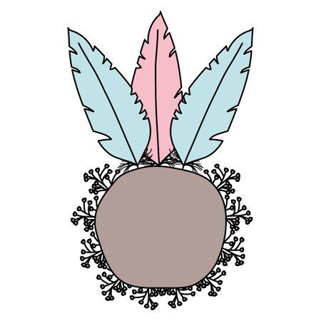 bohemian frame with feathers and flowers Illusztráció