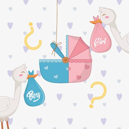 Baby shower of a girl and boy design Illustration