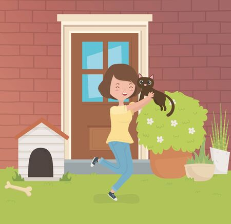 woman with cute little cat mascot in the house garden vector illustration design Illustration