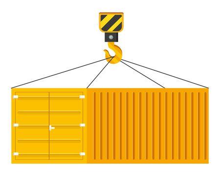 cargo container hanging on a crane hook icon vector illustration graphic design Standard-Bild - 134735381