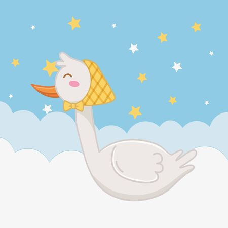 stork with bandana over the cloud with stars icon cartoon vector illustration graphic design