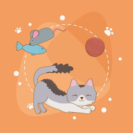 cute little cat mascot with wool roll and fish vector illustration design