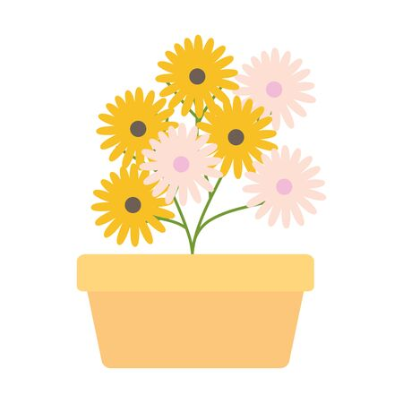 sunflowers garden in square ceramic pot decoration vector illustration design Çizim