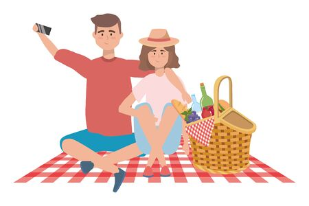 Woman and man cartoon having picnic design, Food summer outdoor leisure healthy spring lunch and meal theme Vector illustration