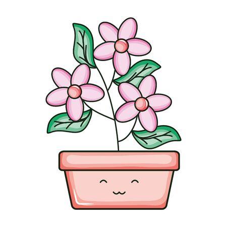 flowers in square ceramic pot kawaii character vector illustration design 向量圖像