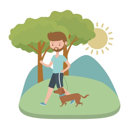 Boy with dog cartoon design, Mascot pet animal nature cute and puppy theme Vector illustration Stok Fotoğraf - 134754243