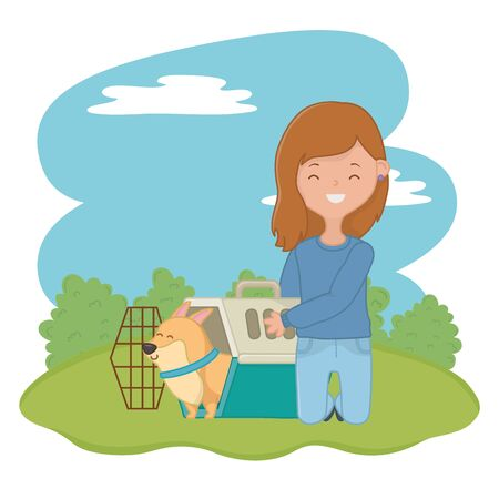 Girl with dog cartoon design, Mascot pet animal nature cute and puppy theme Vector illustration Çizim