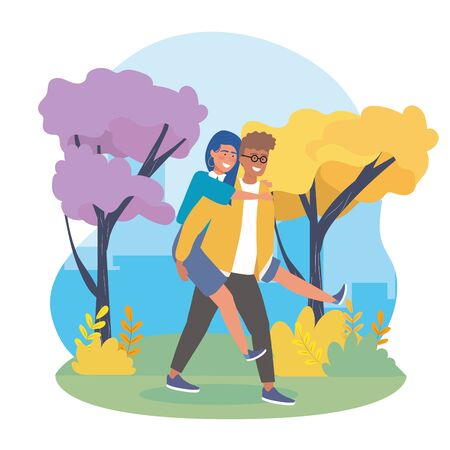 boy carrying the girl in the back with trees to happy youth day vector illustration