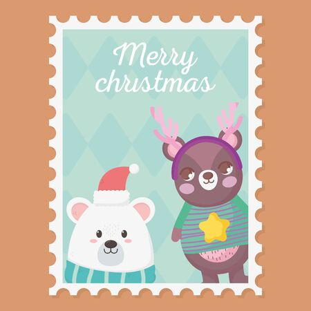 white and brown bears with sweater hat horns merry christmas stamp vector illustration 向量圖像