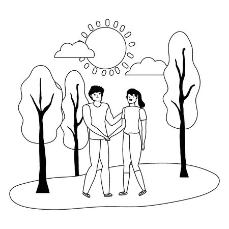 Couple of woman and man cartoon design, Relationship love romance holiday and together theme Vector illustration Stok Fotoğraf - 134754427