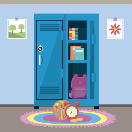 School locker and supplies design