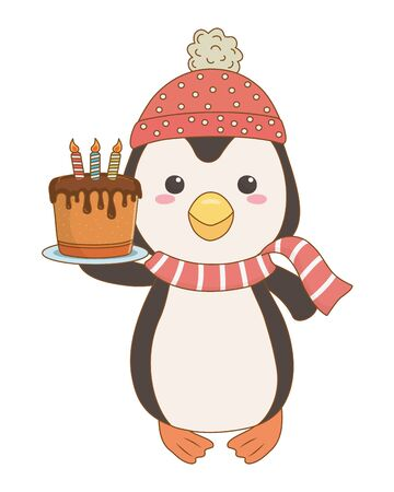 Penguin cartoon design, Animal happy birthday celebration decoration and surprise theme Vector illustration