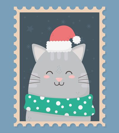 cute cat with hat and scarf celebration happy christmas stamp vector illustration