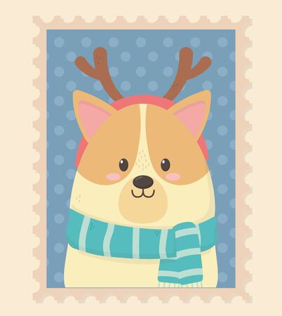 cute dog with scarf and horns celebration happy christmas stamp vector illustration 向量圖像