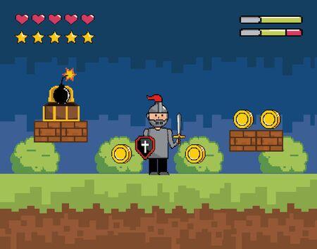 Arcade game world design, Pixel scene art retro and videogame theme Vector illustration