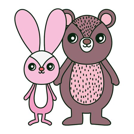 cute bear and rabbit toys decoration vector illustration 일러스트