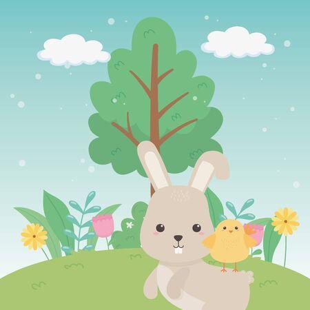 Rabbit and chicken cartoon design, Animal cute zoo life nature and fauna theme Vector illustration Illustration