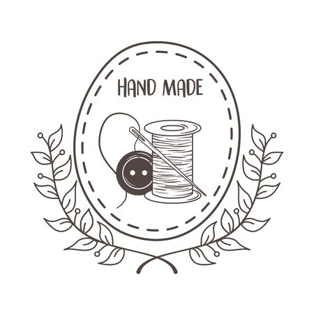 hand made sewing with thread tubino and button vector illustration design