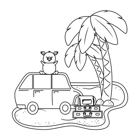 cute animal pig enjoying vacations and summer time, travel and relax cartoon vector illustration graphic design Foto de archivo - 134768734
