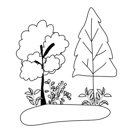 Trees of autumn season design, Nature plant environment natural and abstract theme Vector illustration